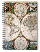 World Map, 17th Century Spiral Notebook