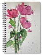3 Pink Flowers Spiral Notebook