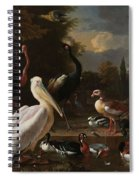 A Pelican And Other Birds Near A Pool, Known As The Floating Feather, Melchior D Hondecoeter, Spiral Notebook