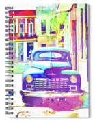 Abstract Watercolor - Havana Cuba Classic Car IIi Spiral Notebook
