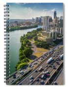 Aerial View Of The Austin Skyline As Rush Hour Traffic Picks Up On I-35 Spiral Notebook