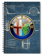 Alfa Romeo 3 D Badge Over 1938 Alfa Romeo 8 C 2900 B Vintage Blueprint Spiral Notebook