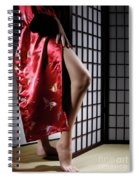 Asian Woman In Red Kimono Spiral Notebook