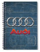Audi 3 D Badge Over 2016 Audi R 8 Blueprint Spiral Notebook