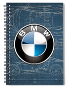 B M W 3 D Badge Over B M W I8 Blueprint  Spiral Notebook