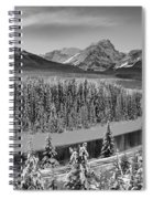 Banff Bow River Black And White Spiral Notebook