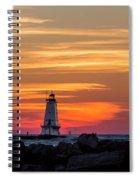 Beautiful Ludington Lighthouse Sunset Spiral Notebook