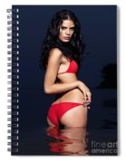 Beautiful Young Woman In Red Swimsuit Standing In Water Spiral Notebook