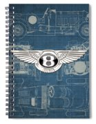 Bentley - 3 D Badge Over 1930 Bentley 4.5 Liter Blower Vintage Blueprint Spiral Notebook