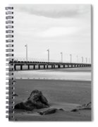 Black And White Image Of Shorncliffe Pier Spiral Notebook