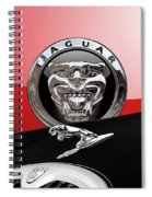 Black Jaguar - Hood Ornaments And 3 D Badge On Red Spiral Notebook