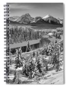 Bow Valley River View Black And White Spiral Notebook