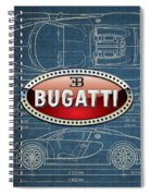 Bugatti 3 D Badge Over Bugatti Veyron Grand Sport Blueprint  Spiral Notebook