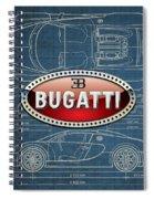 Bugatti 3 D Badge Over Bugatti Veyron Grand Sport Blueprint  Spiral Notebook