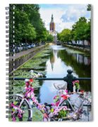 Canal And Decorated Bike In The Hague Spiral Notebook