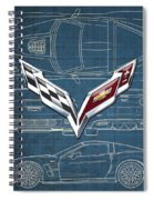Chevrolet Corvette 3 D Badge Over Corvette C 6 Z R 1 Blueprint Spiral Notebook
