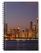Chicago Skyline At Dusk Panorama Spiral Notebook