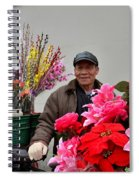 Chinese Bicycle Flower Vendor On Street Shanghai China Spiral Notebook