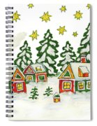 Christmas Picture In Green And Yellow Colours Spiral Notebook