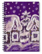 Christmas Picture On Crimson Background Spiral Notebook