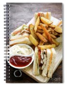 Classic Club Sandwich With Fries On Wooden Board Spiral Notebook