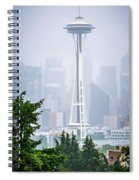 Cloudy And Foggy Day With Seattle Skyline Spiral Notebook