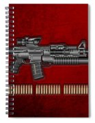 Colt  M 4 A 1  S O P M O D Carbine With 5.56 N A T O Rounds On Red Velvet  Spiral Notebook