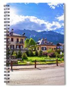 Cortina D' Ampezzo Street And Alps Peaks Panoramic View Spiral Notebook