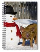 Curious Piglet And Snowman Spiral Notebook