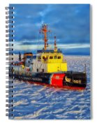 Cutting Through The Ice On Lake Michigan Spiral Notebook