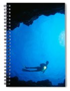 Diver At Cavern Entrance Spiral Notebook
