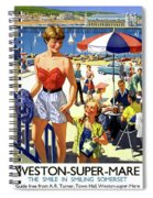 England Weston Super Mare Vintage Travel Poster Spiral Notebook