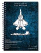F22 Raptor Blueprint Spiral Notebook