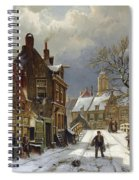 Figures In The Streets Of A Wintry Dutch Town Spiral Notebook