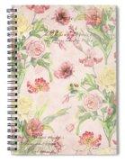 Fleurs De Pivoine - Watercolor W Butterflies In A French Vintage Wallpaper Style Spiral Notebook