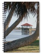 Gazebo Dock Framed By Leaning Palms Spiral Notebook
