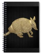 Gold Armadillo On Black Canvas Spiral Notebook