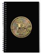 Gold Bitcoin Effigy Over Black Canvas Spiral Notebook