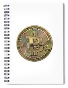 Gold Bitcoin Effigy Over White Leather Spiral Notebook