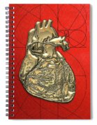 Heart Of Gold - Golden Human Heart On Red Canvas Spiral Notebook