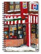 Original Montreal Paintings For Sale Peintures A Vendre Restaurant La Quebecoise Deli Spiral Notebook