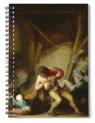 Interior With Drinking Figures And Crying Children Spiral Notebook