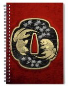 Japanese Katana Tsuba - Twin Gold Fish On Black Steel Over Red Velvet Spiral Notebook