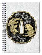 Japanese Katana Tsuba - Twin Gold Fish On Black Steel Over White Leather Spiral Notebook