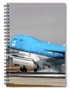 Klm Royal Dutch Airlines Boeing 747 Airplane Landing At San Francisco Airport In San Francisco, Cali Spiral Notebook
