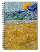 Landscape With Wheat Sheaves And Rising Moon Spiral Notebook