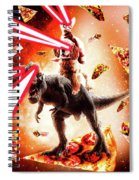 Laser Eyes Space Cat Riding Dog And Dinosaur Spiral Notebook