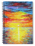 Lighthouse Sunset Ocean View Palette Knife Original Painting Spiral Notebook