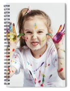 Little Girl Covered In Paint Making Funny Faces. Spiral Notebook
