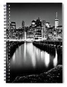 Manhattan Skyline At Night Spiral Notebook